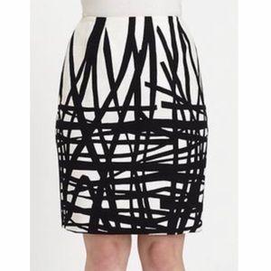 Lafayette 148 New York black  ivory abstract skirt